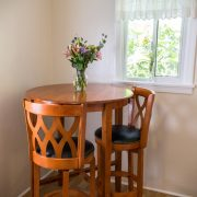 A small table and chairs to relax